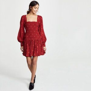 NEW Free People Ruby combo smocked dress xsmall